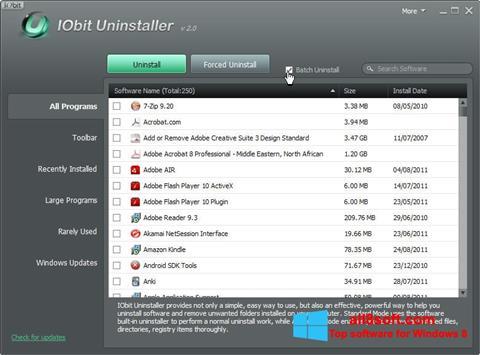 Στιγμιότυπο οθόνης IObit Uninstaller Windows 8