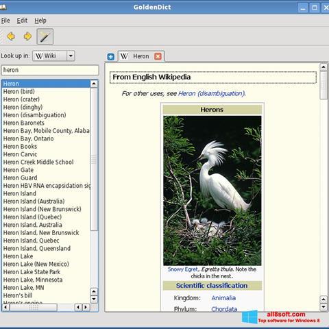 Στιγμιότυπο οθόνης GoldenDict Windows 8