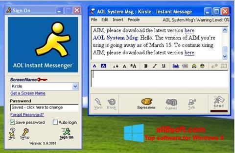 Στιγμιότυπο οθόνης AOL Instant Messenger Windows 8