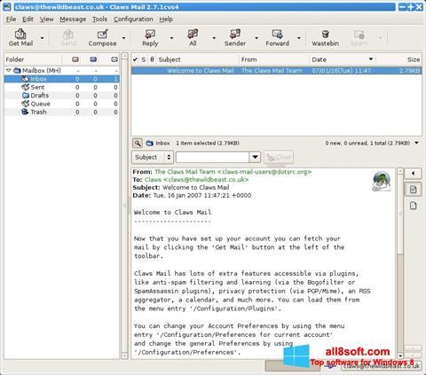 Στιγμιότυπο οθόνης Claws Mail Windows 8