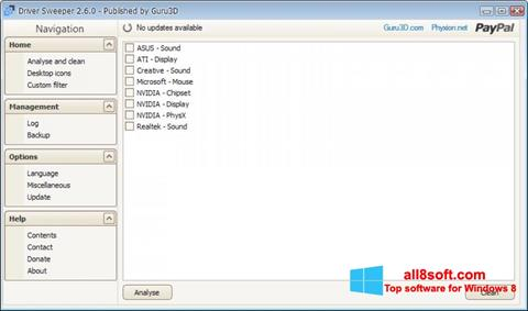 Στιγμιότυπο οθόνης Driver Sweeper Windows 8
