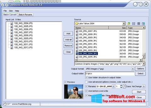 Στιγμιότυπο οθόνης FastStone Photo Resizer Windows 8