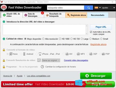 Στιγμιότυπο οθόνης Fast Video Downloader Windows 8