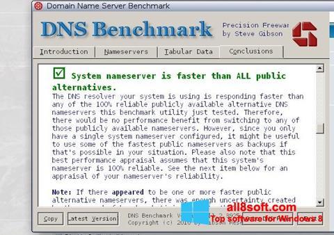 Στιγμιότυπο οθόνης DNS Benchmark Windows 8