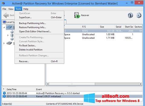 Στιγμιότυπο οθόνης Active Partition Recovery Windows 8