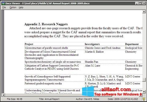 Στιγμιότυπο οθόνης DocX Viewer Windows 8