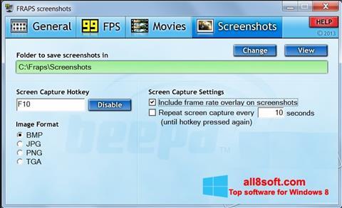 Στιγμιότυπο οθόνης Fraps Windows 8