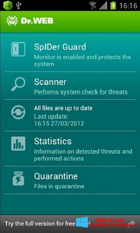 Στιγμιότυπο οθόνης Dr.Web Light Windows 8