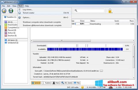 Στιγμιότυπο οθόνης qBittorrent Windows 8