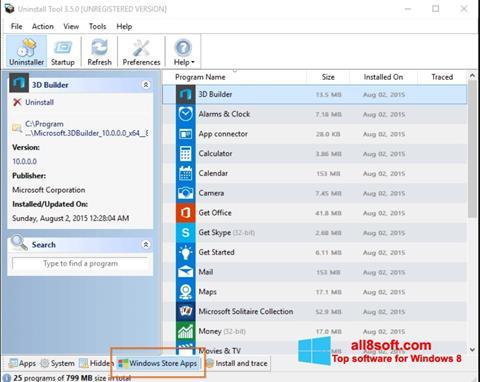 Στιγμιότυπο οθόνης Uninstall Tool Windows 8