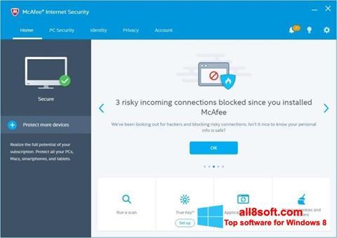Στιγμιότυπο οθόνης McAfee Windows 8