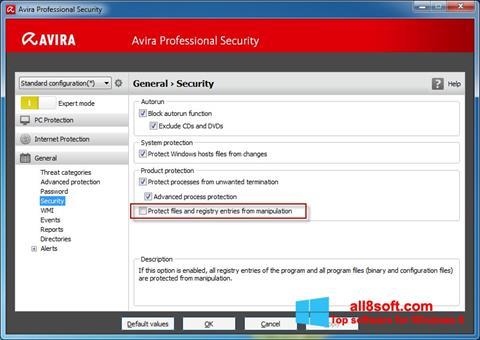 Στιγμιότυπο οθόνης Avira Professional Security Windows 8