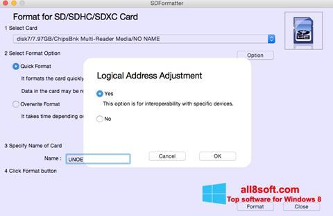 Στιγμιότυπο οθόνης SDFormatter Windows 8