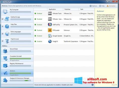Στιγμιότυπο οθόνης CleanMyPC Windows 8