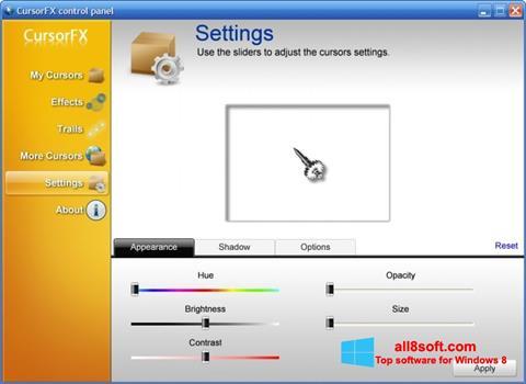 Στιγμιότυπο οθόνης CursorFX Windows 8