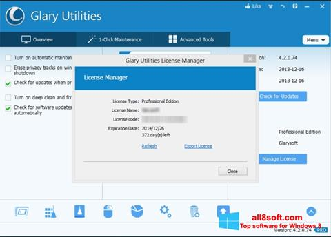Στιγμιότυπο οθόνης Glary Utilities Windows 8