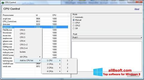 Στιγμιότυπο οθόνης CPU-Control Windows 8
