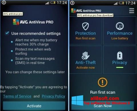Στιγμιότυπο οθόνης AVG AntiVirus Pro Windows 8