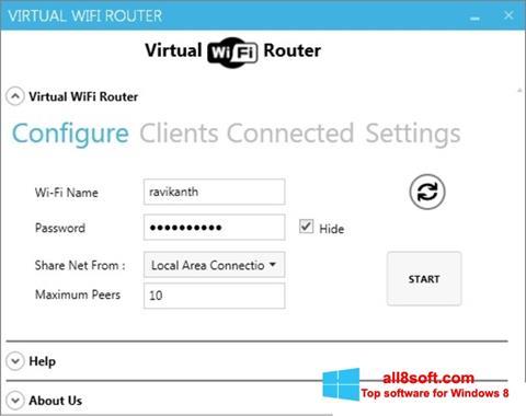 Στιγμιότυπο οθόνης Virtual WiFi Router Windows 8