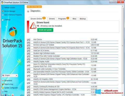 Στιγμιότυπο οθόνης DriverPack Solution Windows 8