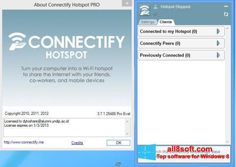 Στιγμιότυπο οθόνης Connectify Hotspot Windows 8