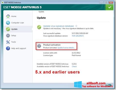 Στιγμιότυπο οθόνης ESET NOD32 Windows 8