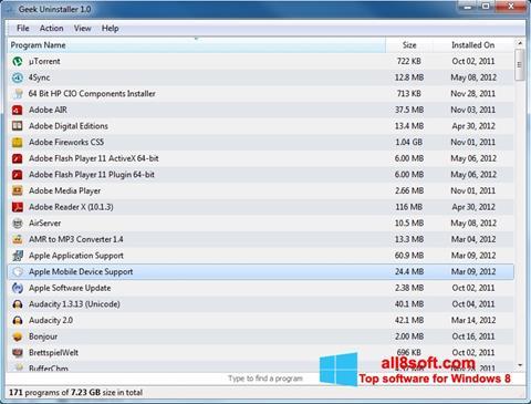 Στιγμιότυπο οθόνης Geek Uninstaller Windows 8