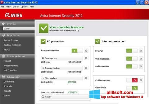 Στιγμιότυπο οθόνης Avira Internet Security Windows 8