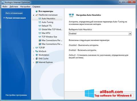 Στιγμιότυπο οθόνης Auslogics Internet Optimizer Windows 8