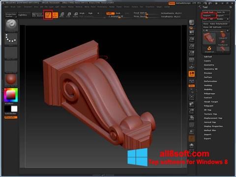 Στιγμιότυπο οθόνης ZBrush Windows 8