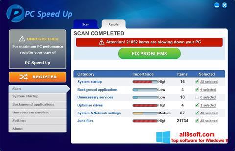 Στιγμιότυπο οθόνης PC Speed Up Windows 8