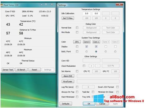 Στιγμιότυπο οθόνης Real Temp Windows 8